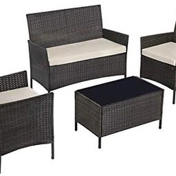 SONGMICS Patio Furniture Set, PE Wicker Outdoor Furniture, for Porch Deck Backyard Outside Use, B...   Amazon (US)