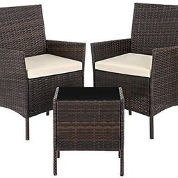 SONGMICS Patio PE Wicker Chairs, Set of 3 Small Patio Furniture, for Front Porch Outside Balcony,...   Amazon (US)