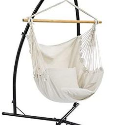 SONGMICS Hammock Chair with Stand, Large Swing Chair with 2 Cushions, Hanging Chair Stand, Holds ...   Amazon (US)