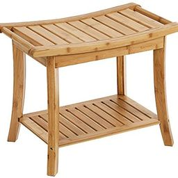 SONGMICS Bamboo Shower Bench Seat, Portable Spa Bathing Stool, with Towel Shelf for Indoor or Out... | Amazon (US)