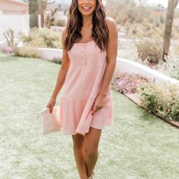 Divine Memory Button Pink Mini Dress | The Pink Lily Boutique