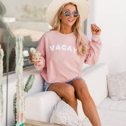 Vacay Block Pink Corded Graphic Sweatshirt | The Pink Lily Boutique