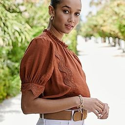Lace Pieced Mock Neck Top | Express
