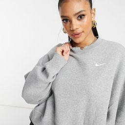 Nike mini swoosh oversized cropped sweatshirt in light gray   ASOS (Global)