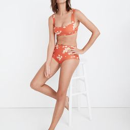 Madewell Second Wave Retro High-Waisted Bikini Bottom in Lazy Daisies   Madewell