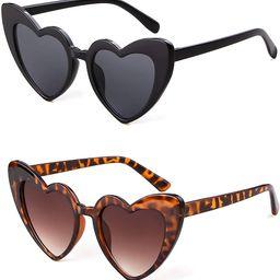 Clout Goggle Heart Sunglasses Vintage Cat Eye Mod Style Retro Kurt Cobain Glasses | Amazon (US)