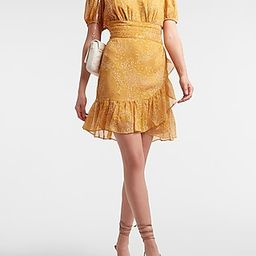 Dot Print Ruffle Wrap Puff Sleeve Dress   Express