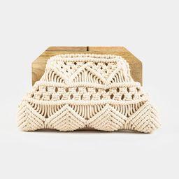 Samara Crochet Wooden Clutch   Francesca's Collections