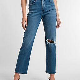 Super High Waisted Ripped Modern Straight Jeans   Express