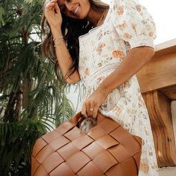 Leigh Woven Bag in Cognac | Bohme
