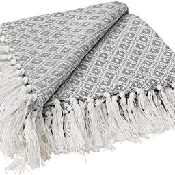 MOTINI 100% Cotton Grey Throw Blanket for Couch with Diamond Pattern Decorative Cozy Knitted Blan... | Amazon (US)
