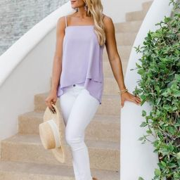 Lovely Intuition Asymmetrical Lilac Tank   The Pink Lily Boutique