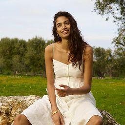 Linen-Blend Cami Button-Front Midi Dress | Madewell
