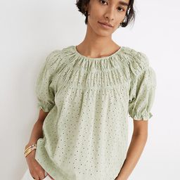 Daisy Embroidered Shirred Puff-Sleeve Top | Madewell