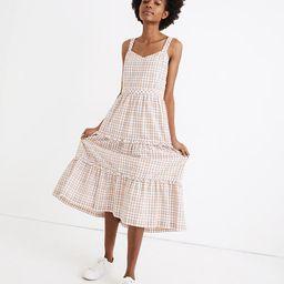 Gingham Sweetheart Ruffle-Tiered Midi Dress | Madewell