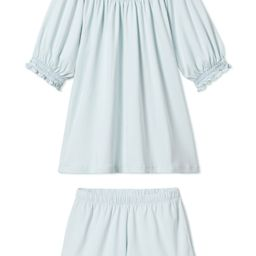 Pima Smocked Shorts Set in Air | LAKE Pajamas