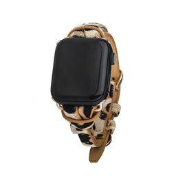 Tan Leopard Animal Print Apple Watch Strap on Gold | Victoria Emerson