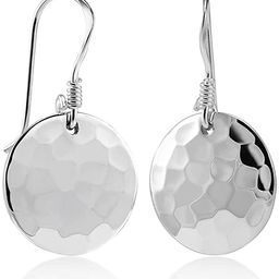 925 Sterling Silver Hammered Round Disc Dangle Earring   Amazon (US)