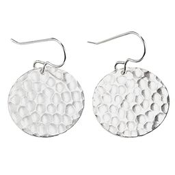 Large Sterling Silver Hammered Circle Disc Dangle Earrings   Amazon (US)