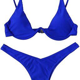 Verdusa Women's Sexy Triangle Bathing Two Pieces Swimsuit Bikini Set | Amazon (US)