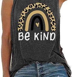Be Kindness Tank Tops for Women Cute Leopard Rainbow Sleeveless Casual Summer Teacher Tee Tanks   Amazon (US)