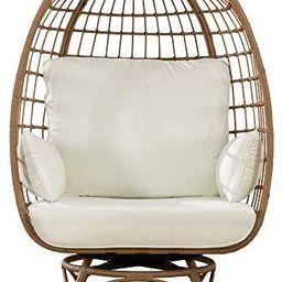 Sunjoy Simon Swivel Egg Cuddle Chair, Light Brown | Amazon (US)