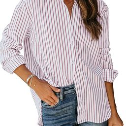 LookbookStore Women's Casual Button Down Striped Shirt Long Sleeve Loose Blouse Tops | Amazon (US)
