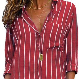 MISSLOOK Women's Stripes Button Down Shirts Roll-up Sleeve Tops V Neck Casual Work Blouses | Amazon (US)