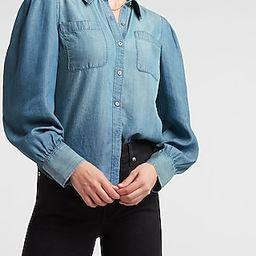 Puff Sleeve Denim Shirt | Express
