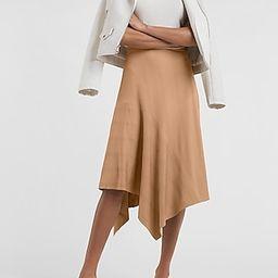 High Waisted Ribbed Knit Flounce Midi Skirt | Express