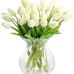 30 Pcs Artificial Tulip Flowers Real Touch Tulips Fake PU Tulip Flower Bouquet for Home Wedding P... | Amazon (US)