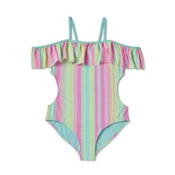 Wonder Nation Girls 4-18 & Plus Flounce Striped One-Piece Swimsuit With Upf 50+ with UPF 50+ | Walmart (US)