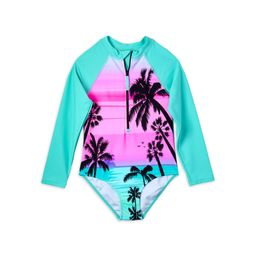 Limited Too Girls Tropical Scene Long Sleeve One Piece Swimsuit, Sizes 4-16 | Walmart (US)