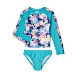 Shelloha Girls Long Sleeve Rash Guard and Bottoms, UPF 50+, 2-Piece Swim Set, Sizes 4-16 | Walmart (US)