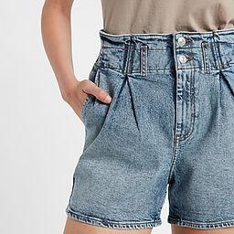 Super High Waisted Paperbag Stretch Waist Jean Shorts | Express