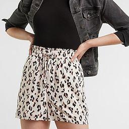 High Waisted Soft Leopard Drawstring Shorts | Express