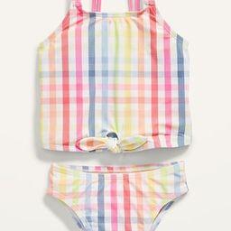 Plaid Tie-Front Tankini Swim Set for Toddler Girls   Old Navy (US)