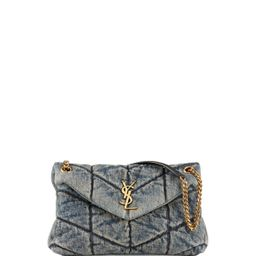 LouLou YSL Small Quilted Denim Shoulder Bag | Neiman Marcus