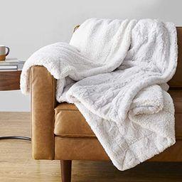 "Amazon Basics Fuzzy Faux Fur Sherpa Throw Blanket, 60""x70"" - Ivory | Amazon (US)"