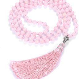 Top Plaza Womens 108MalaPrayerBeads Wrap Necklace with Long Tassel Healing Crystal Stone Ne... | Amazon (US)