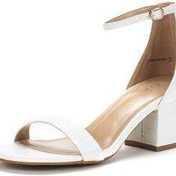 DREAM PAIRS Women's Low-Chunk Low Heel Pump Sandals | Amazon (US)