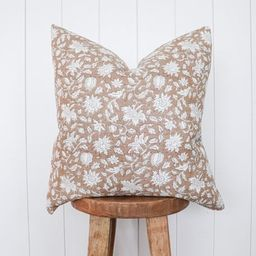 Blush Floral Handblock Linen Pillow Cover  Natural Dusty Rose | Etsy | Etsy (US)