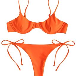 ZAFUL Women's Underwire Push Up Balconette Tie Side String Bikini Set Swimsuit | Amazon (US)