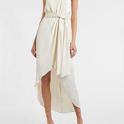 Satin Belted Hi-Lo Maxi Dress   Express
