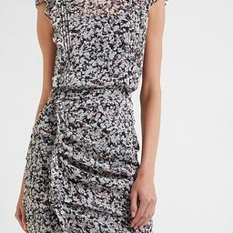 Printed Ruffle Ruched Front Sheath Dress | Express