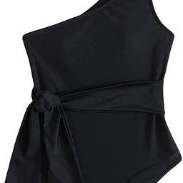 SweatyRocks Women's Bathing Suits One Shoulder One Piece Swimsuits Monokini | Amazon (US)