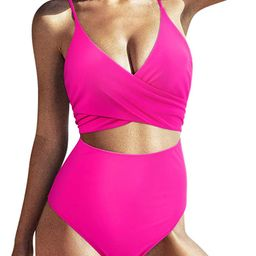 SUUKSESS Women Wrap Cut Out One Piece Swimsuit High Waisted Monokini Bathing Suit | Amazon (US)