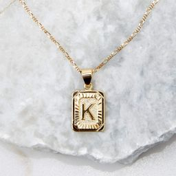Initial Card K Gold Necklace   Red Dress