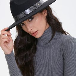 Faux Snakeskin-Trim Panama Hat   Forever 21 (US)