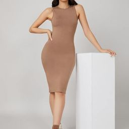 SHEIN BASICS Solid Bodycon Dress | SHEIN